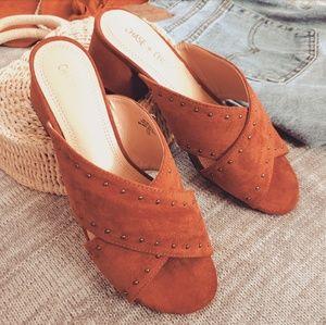 🆕️//The Colorado// burnt orange studded sandal